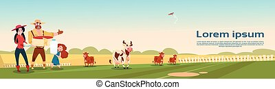 Farmers Family Cows Fresh Milk Dairy Products Eco Farming Banner