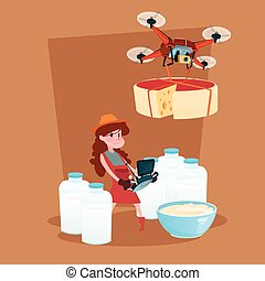 Small Girl Hold Remote Controller Drone Delivery Milk Dairy Products Eco Fresh Farming