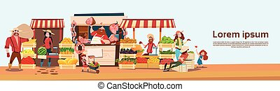 Farmer Family Sell Harvest Products Grocery On Eco Farm...
