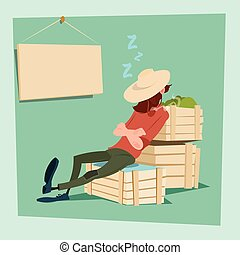 Farmer Countryman Sleeping On Vegetable Boxes Flat Vector...