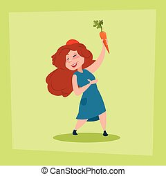 Little Girl Holding Carrot Farmers Daughter Flat Vector...