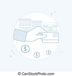 Hand Hold Credit Card Banking Transactions Vector...
