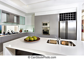Modern kitchen in the luxurious house - Counter top made in...