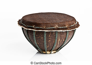 African drum isolated on white background - Original african...