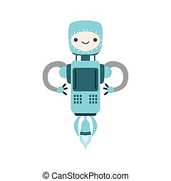 Blue Friendly Flying Android Robot Character Vector Cartoon Illustration