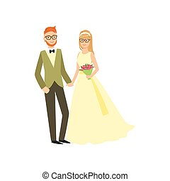 Bride And Groom In Glasses Newlywed Couple In Traditional Wedding Dress And Suit Smiling And Posing For Photo