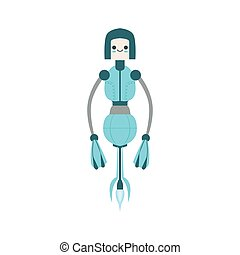 Thin Blue Floating Mid Air Friendly Android Robot Character...