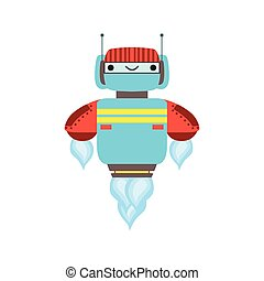 Blue And Red Friendly Android Robot Character Floating Mid...