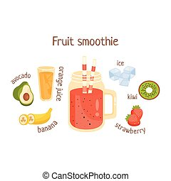 Fruit Smoothie Infographic Recipe With Needed Ingredients...