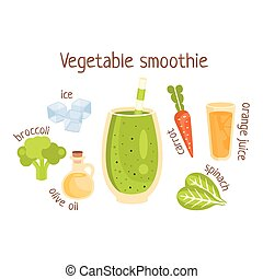 Vegetable Smoothie Infographic Recipe With Needed...