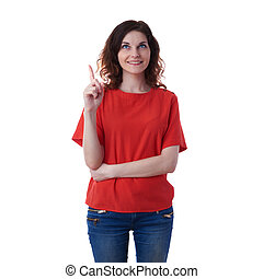 Smiling young woman over white isolated background - Smiling...