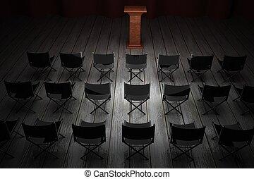 reunión, púlpito, habitación
