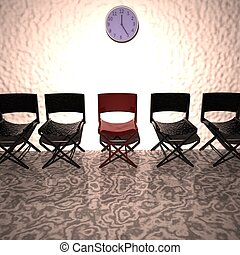 Red chair in row of black chairs