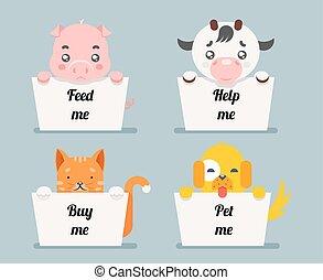 beggar animals help cat dog pig cow cartoon flat design...