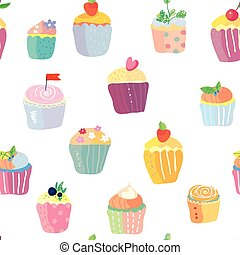 Cupcakes with fruits funny seamless pattern