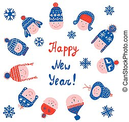 Happy new year greeting card with kids in the hats