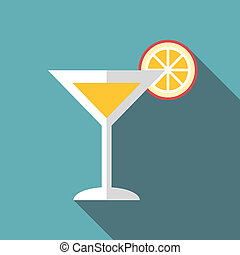 Martini glass with cocktail and orange slice icon. Flat...