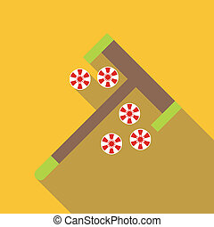 Roulette rake and chips icon, flat style - Roulette rake and...
