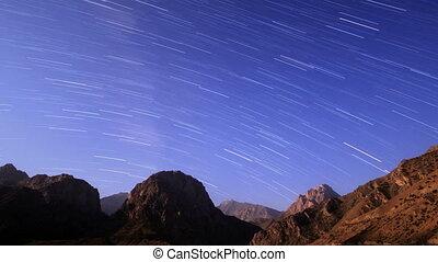 Sky with stripes. Tajikistan, Iskander-Kul. Time Lapse