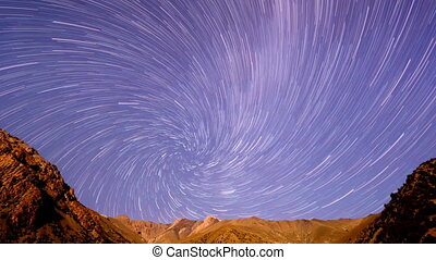 Milky Way in the mountains. Spiral. Time Lapse