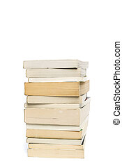 Stack of white paperback books isolated on white with copyspace
