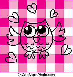 sweet little owl on checkered pink background