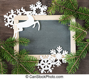 Chalkboard with Christmas decorations