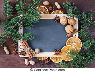 Blank chalkboard with Christmas decorations