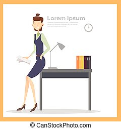 Business Woman In Office Workplace, Businesswoman Hold Paper Contract Documents