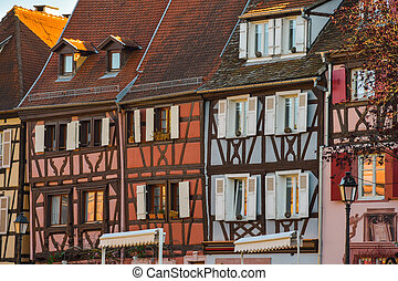 Colorful traditional french houses in Petite Venise, Colmar...