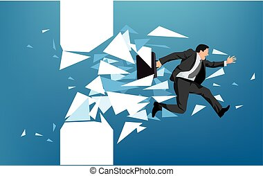 Businessman breaking through obstacle or escaping towards...