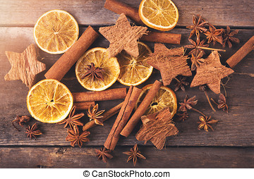 christmas background with spices. top view on old wooden table