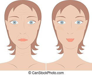skin care woman face before and after - Vector illustration...
