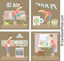 Set of housewife in funny cartoon