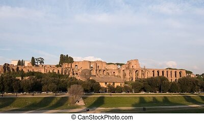 Ruins of Palatine hill palace. SunSet. Zoom. Rome, Italy....
