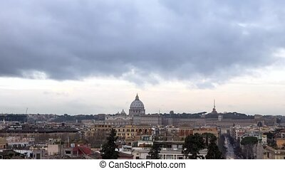 Clouds over Rome. Via del Corso. Italy