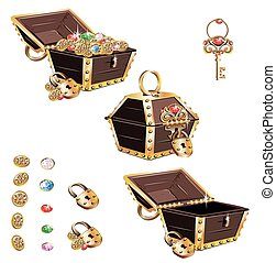 Treasure chest with golden ornaments