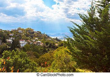 montanha, aéreo, coloridos, árvores, Outono, vila, vista