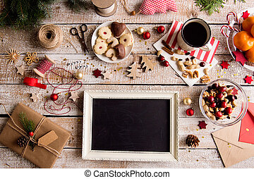 Christmas composition, studio shot, wooden background -...