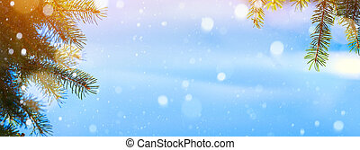 art Snow Christmas fir tree;  Blue Christmas background;