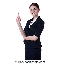 Smiling businesswoman standing over white isolated...
