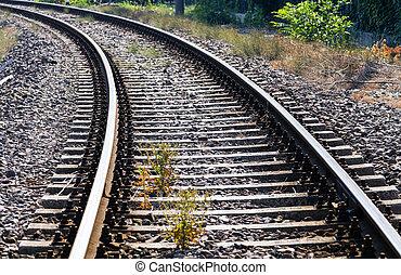 Railroad in Donetsk . Railway station - long empty railroad...