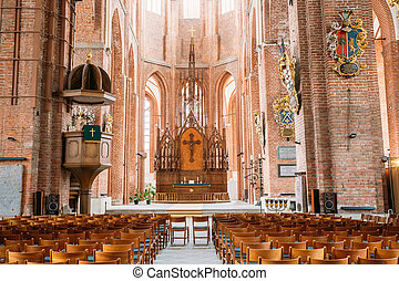 Riga Latvia. Nave Of St. Peter's Church. Central Part Of...