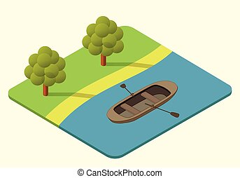 wooden boat vector isometric - wooden rowing boat vector...