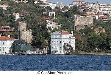Buildings in Istanbul City, Turkey - Buildings in Bosphorus...
