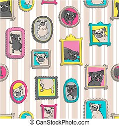 Frames with portraits of pugs. Seamless pattern.