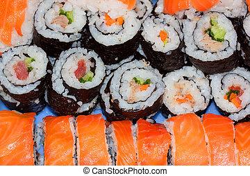 sushi - homemade sushi with wild salmon, shrimp, cucumber...