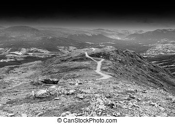 Black and white winding mountain road background hd