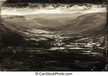 Vintage Norway mountain valley postcard background hd