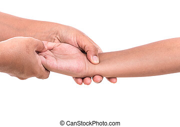 Woman's hand holding children's hand isolated on white...